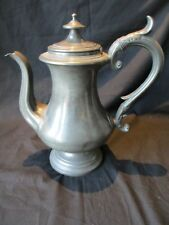 LARGE PEWTER LIDDED TEA / COFFEE POT BY JAMES DIXON & SONS NUMBERED 1085  c 1850
