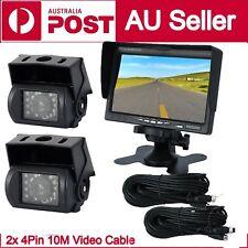 """7"""" Monitor HD 12V/24V Reversing CCD 2x CCD Camera 4PIN System For Truck Caravan!"""