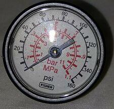"Fisher 11B4040X032 Pressure Gauge 0-160PSI, Brass, 1-1/2"" Dial X 1/8""NPT CBC"