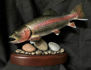 RAINBOW TROUT FISH DECOY SCULPTURE CARVING FLY FISHING ART NEW BY DEMOTT REEL