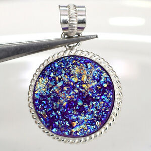 "64 Ct. Natural Titanium Druzy Cab Silver Overly Pendant Jewelry S- 1 1/2"" BD-667"