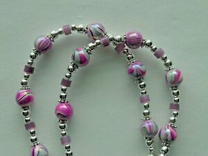 FLOWER SATIN PINK PURPLE BEADS BEADED LANYARD ID BADGE HOLDER NECKLACE CHAIN
