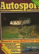 AUTOSPORT DICEMBRE 1st 1983 * RAC Rally & Macau GP SENNA WIN *