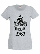 T-shirt Maglietta donna J2237 Motor and Skull Born To Ride Since 1967 Compleanno