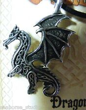 CELTIC WINGED DRAGON!  Pewter PROTECTION TALISMAN PENDANT & black necklace cord