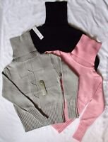 Misses/Jr. Cable Knit Sweaters size small (avail. in Grey, Pink, and Black)