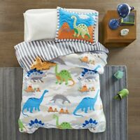 KIDS JURASSIC DINO 3pc Twin QUILT SET : WHITE BLUE REX DINOSAUR DINO COVERLET
