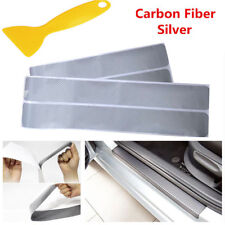4x Car Door Sill Scuff Welcome Pedal Protector Carbon Fiber Stickers Mats Silver