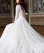 Modest Long Sleeves Lace Tulle Wedding Dresses White Ivory Bridal Gowns Custom