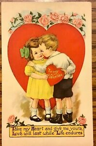 Antique Valentine Postcard Card Take My Heart Boy Girl Kiss Red Heart
