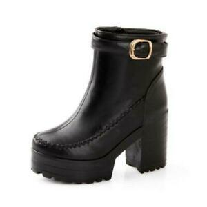 Womens Casual Retro Round Toe Buckle Ankle Boots Block High Heels Party Shoes