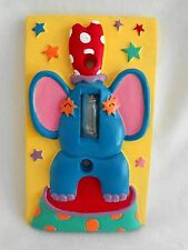 Circus Elephant SINGLE LIGHT SWITCH COVER Blue Green Yellow Ceramic Kids Room