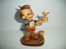 "Anri Disney Pinocchio holding Bird Wood Carved Figurine 4""~Limited Edition #571"