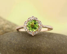 14k White Gold Over Round Cut Peridot Halo Engagement Ring