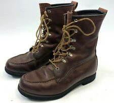 Vintage Mens MASON Chippewa Falls WI Brown Leather Motorcycle Work Boots Size 8