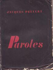 PAROLES / JACQUES PREVERT / LES EDITIONS DU POINT DU JOUR / 1948