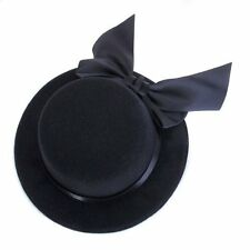Donna Mini cappello berretto Burlesque modisteria con fiocco - Nero HK