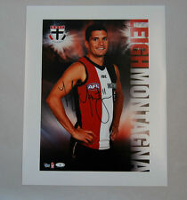LEIGH MONTAGNA ST KILDA SAINTS SIGNED AFL HEROES PLAYER SERIES PHOTO PRINT