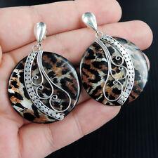 Leopard Skin Design Resin & 925 Sterling Silver Pierce Earrings Studs