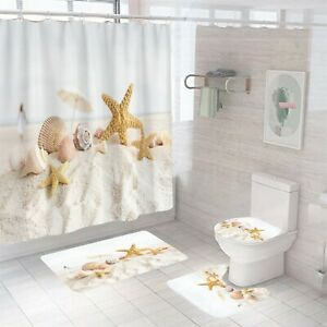 Sandbeach Shower Curtain Bathroom Rug Set Bath Mat Non-Slip Toilet Lid Cover