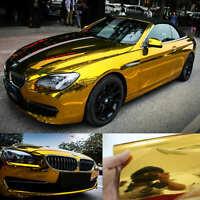 30x150cm Car Wrap Flat Glossy Mirror Chrome Vinyl Sticker Film Decal Gold KW
