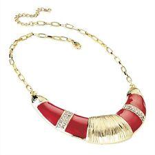 Red Enamel & Crystal Diamante Half Moon Shape Gold Colour Chain Necklace