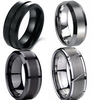 Size 7-15 8MM Tungsten Carbide Ring Wedding Brushed Anniversary Husband Birthday