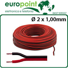 Piattina cavo rosso nero sezione 2 x 1 mmq per audio bobina matassa 100 metri
