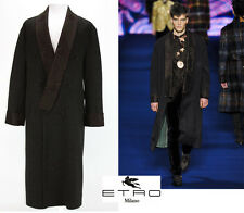 NEW ETRO RUNWAY WOOL SATIN LAPEL COAT It. 50 - US 40  OVERSIZE
