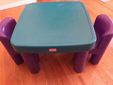 VINTAGE LITTLE TIKES Green TABLE w/drawers & 2 Purple Chunky Chairs Child Set