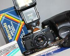 OLYMPUS OM-1N MD 35mm SLR Film Camera ZUIKO AUTO-S 50mm f1.8 Lens Flash WORKING