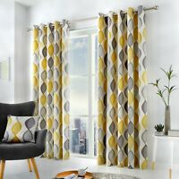 Fusion Lennox 100% Cotton Ready Made Fully Lined Eyelet Curtains Grey/Ochre