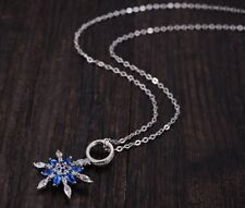 "18"" Sterling SILVER Frozen SNOWFLAKE Topaz Blue CZ Pendant NECKLACE Gift Box L12"