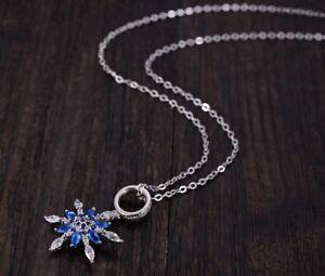 "18"" Sterling SILVER Frozen SNOWFLAKE Topaz Blue CZ Pendant NECKLACE Gift Box PE3"