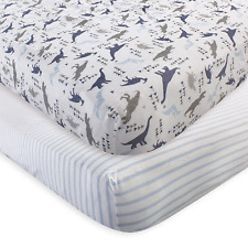 Touched by Nature 2 Piece Organic Fitted Crib Sheets, Dino, One Size