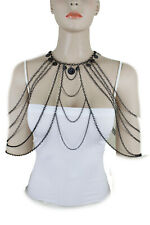 Set Fashion Long Necklace Coin Charms Sexy Women Urban Black Body Chain Jewelry
