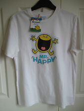 Roger Hargreaves Mr Happy T-shirt 11-12years 146-152cm White Tshirt NEW WITH TAG