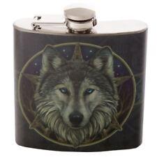 Celtic Wolf Pentagram Star Fantasy Stainless Steel Hip Flask 6oz