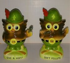 Woodsy Owl vintage salt and peppers  Smokey Bear