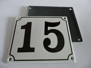 Old German White Enamel Porcelain Metal House Door Number Street Sign / Plate 15