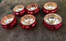 6 X Antique Pumpkin Mercury Glass Votives Tea Light Holders HALLOWEEN/CHRISTMAS