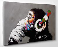Banksy DJ Monkey Gorilla Chimp Canvas Print Wall Art Ready To Hang A1 A2 Large
