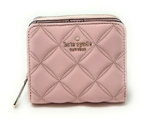 NWT Kate Spade Natalia Quilted Smooth Leather Small Zip Around Wallet in Black