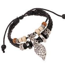 Women 925 Sterling Silver Plated Adjustable Leaf Bead Leather Braid Bracelet
