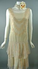 Nataya 1920's Gatsby Cocktail Dress S Beige/Tan Lace Vintage NWT Age Of Love