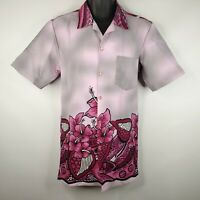 Vintage 70s Hawaiian Polynesian Hand Painted Purple Aloha Shirt M Long