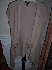 Willi Smith Sweater Tunic Jacket Tassel trim short sleeve Tan Womens L