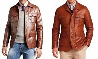 Custom Tailor Made All Size Genuine Lamb Leather Jacket Brown/Cognac 4 Pockets