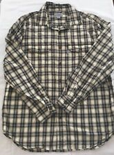 Carhartt Mens Large Relaxed Fit Plaid Brown Button Up Shirt Long Sleeve Casual