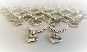 Personalised Wedding Table Decorations - Champagne & Wine Glass Charms Favours